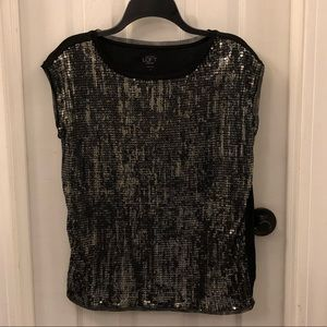 Black Sequined Sleeveless Shirt